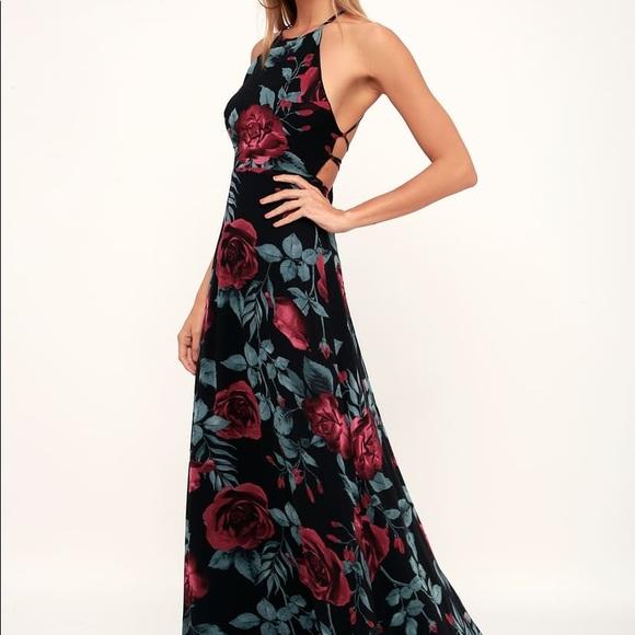 Lulu's Dresses & Skirts - Lulu's Adventure Seeker Black Rose Print Dress